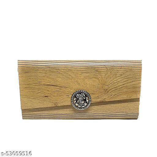 Arjey's Wooden Brown Rectangle Sling Wooden Mobile Clutches (AJ_Clutches_004_Brown)