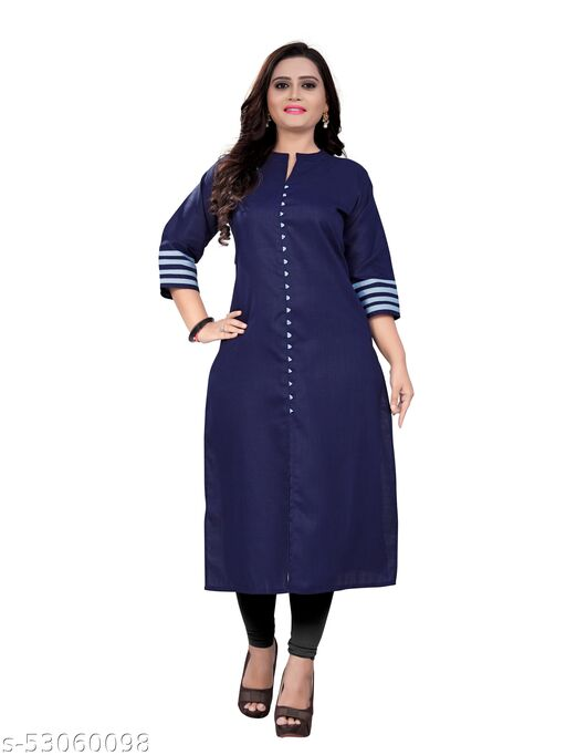 Sanmukh Creation Women's Three-Fourth Sleeve Plain A-Line Kurta/Kurti