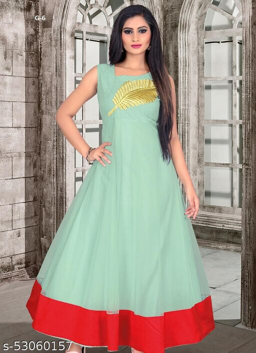 FLATTERING GREY COLORED PARTY WEAR EMBROIDERED BUTTERFLY NET GOWN