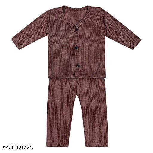 Front Open Kids Thermal (Top & Pajama) Set for Baby Boys & Baby Girls, Body Warmer for Baby-Pack of 1 Sets(Brown)