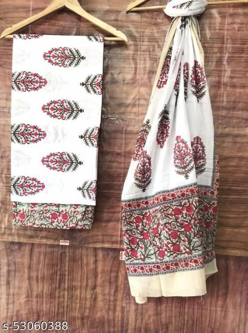 Pure cotton unstitched suit with dupatta