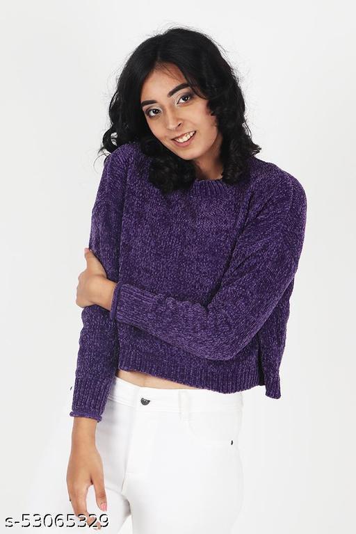 KIIKII Women's Mock Neck Rasin Chenille Purple Sweaters