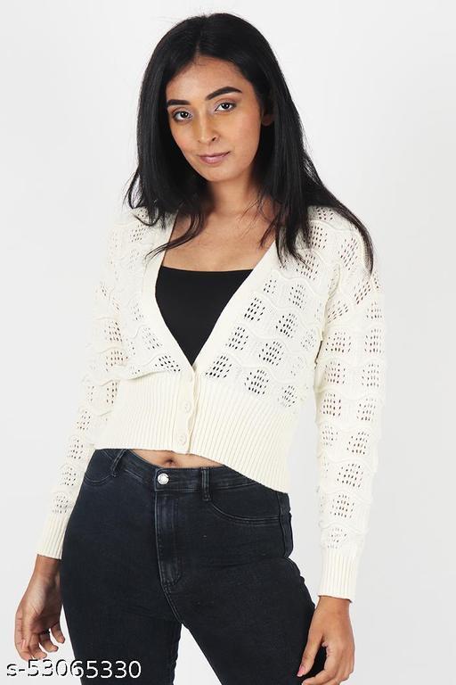 KIIKII Women's Solid Knitting Off White Sweater V Neck Sugar Button Crop Cardigan
