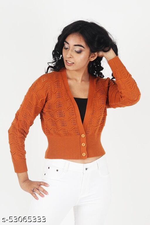 KIIKII Women's Solid Knitting Sweater V Neck Coral Button Crop Cardigan