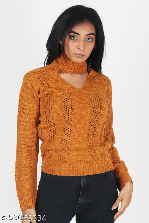 KIIKII Bronze Pointelle Cable Knit Round Neck Casual Women's Mustard Sweater