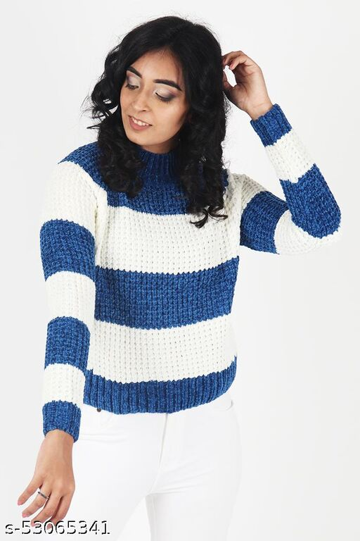KIIKII Women's Mock Neck Chenille Color Block White Blue Contrast Pullover  Women Sweaters