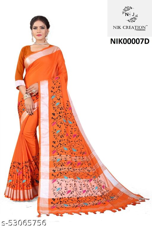 PURE SOFT SUPAR LILEN BEAUTIFUL COLOUR Emroidary work and silver zari weaving saree