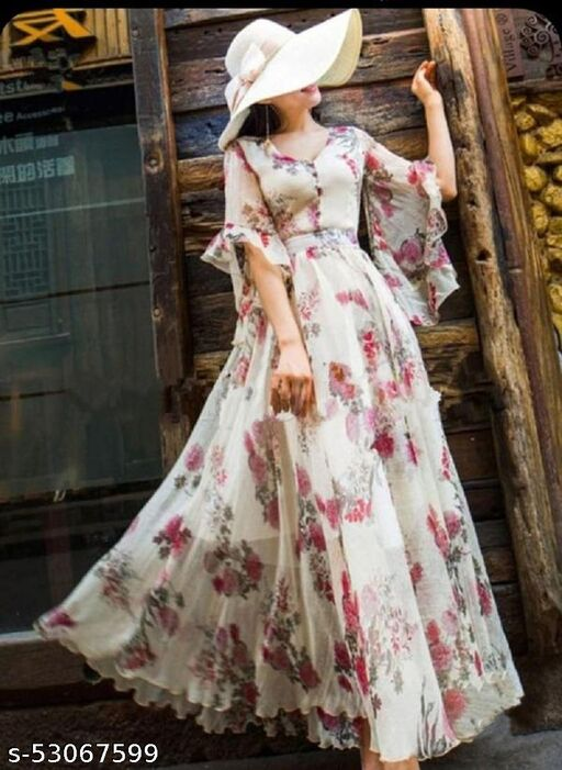 AWEOME WHITE DIGITAL PRINTED GEORGETTE GOWN