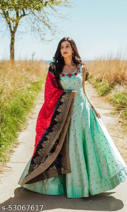 embroidred and jackard gown with dupatta