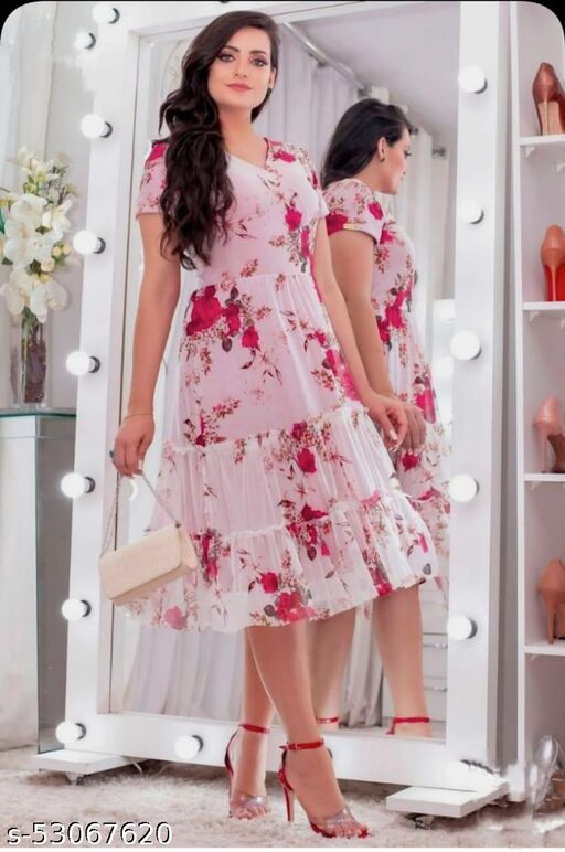 PRINTED PINK GEORGETTE STITCHED GOWN