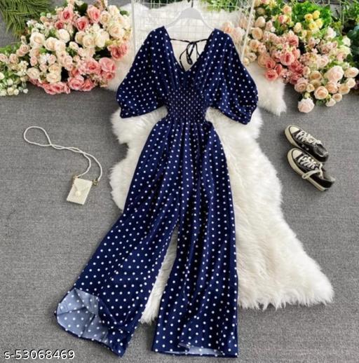 Stylemyth Women Crepe Printed Blue Jumpsuit