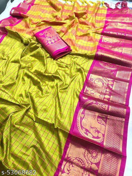 FITCASK® Women's Banarasi Silk Saree With Blouse Piece :- Green
