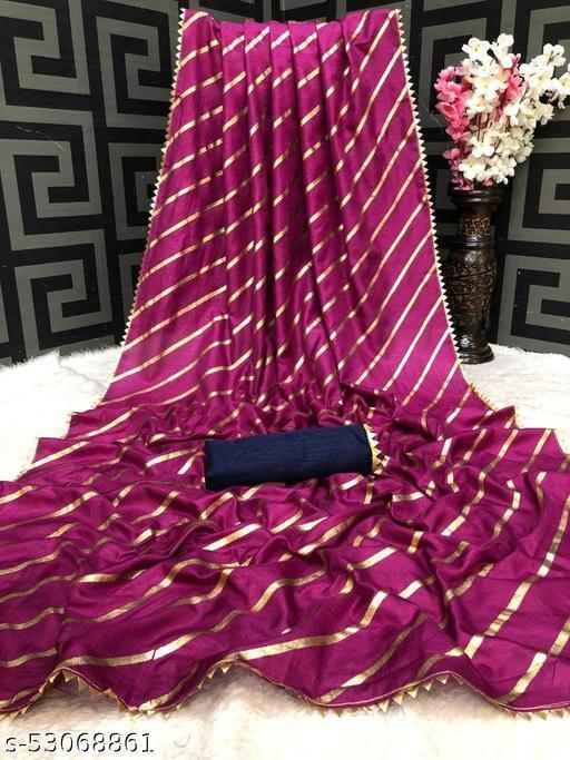 Women's Polycotton Saree with Unstitched Blouse Piece