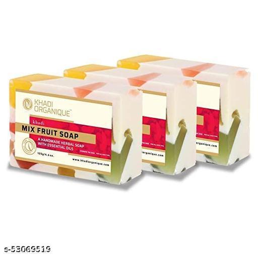 Khadi Organique Natural handmade Mix Fruit Soap Pack of 3 (100% Pure Herbal Soap)