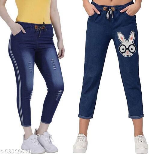 Jogger Fit Women Dark Blue Jeans  (Pack of 2) denim