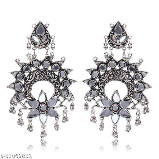 Dazzled Jewels Oxidised Silver Flower Earrings Set for Women