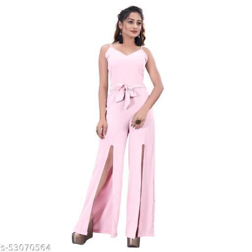 Jalpa's Boutique light Pink Cotton Rayon Plain Sleeveless Jump Suit
