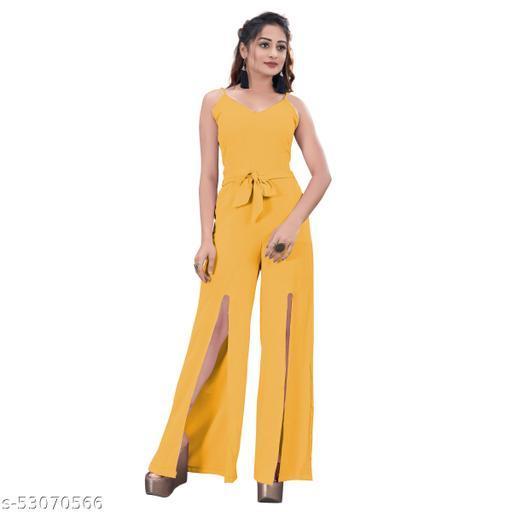 Jalpa's Boutique Mustard Cotton Rayon Plain Sleeveless Jump Suit