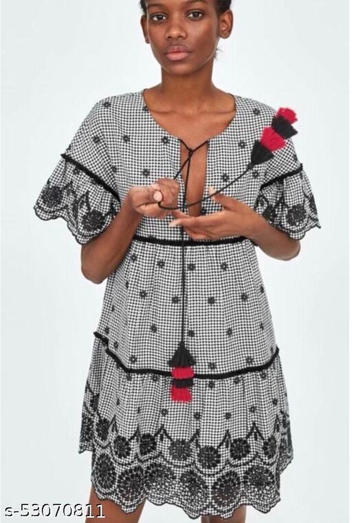 Checkered Embroidered Mini Dress