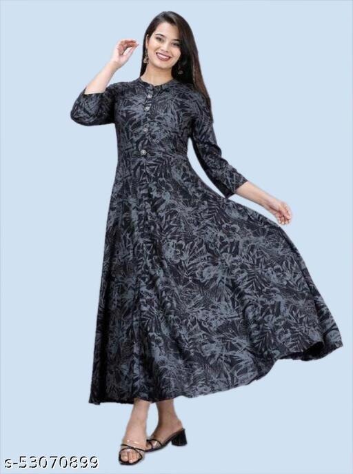 Mantra Trends Women's Anarkali Printed Casual Black Rayon Designer Kurti