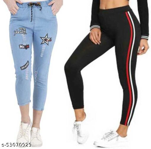 LIGHT STAR AND RED STRIPS JEGGING
