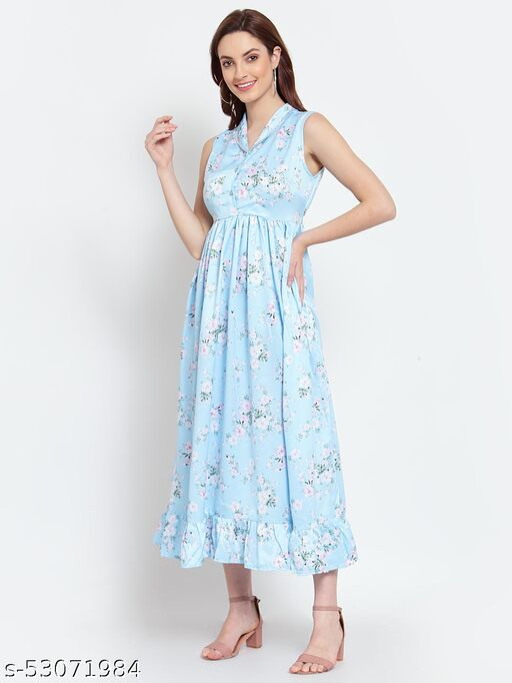 Myshka Women's Blue Cotton Printed Sleeveless Coller Casual Dress