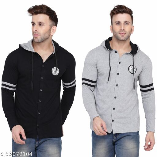 Geum Hooded Neck Long Sleeves  Multicolor T-Shirt
