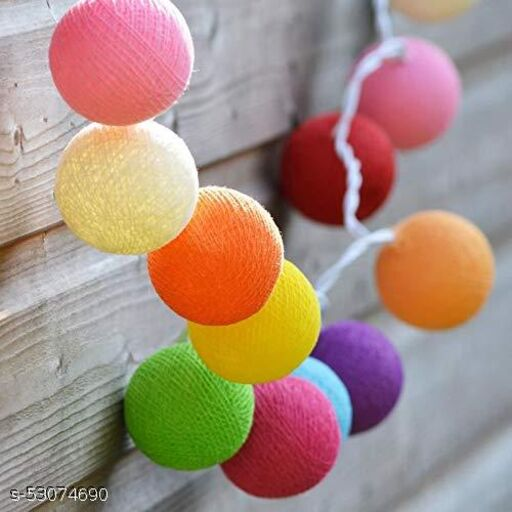 Lakshya Rainbow Colour Cotton Ball Festival Decoration Fairy String Light (Multicolour)