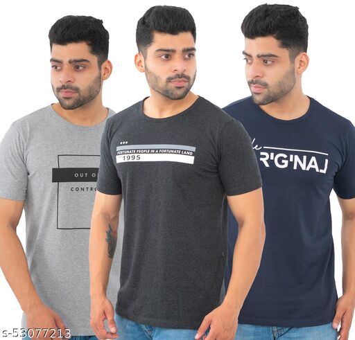 Bishop Cotton Men's Pack of 3 Multicolor Round Neck Printed T-shirts