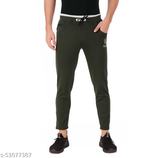 flyker mens regular fit 4waylycra trackpants - mehendigreen