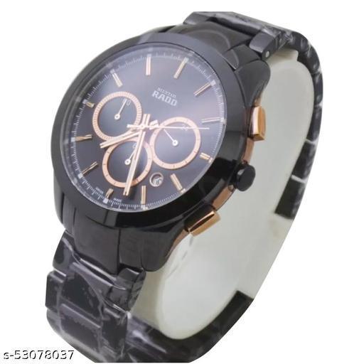 Radd Hyperchrome Chronograph Black Ceramic Rose Gold Black Dial Quartz Watch for Men's