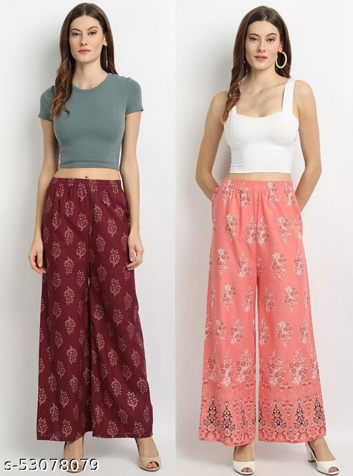DPL Multi Color Floral Printed High Waist Cotton Palazzos