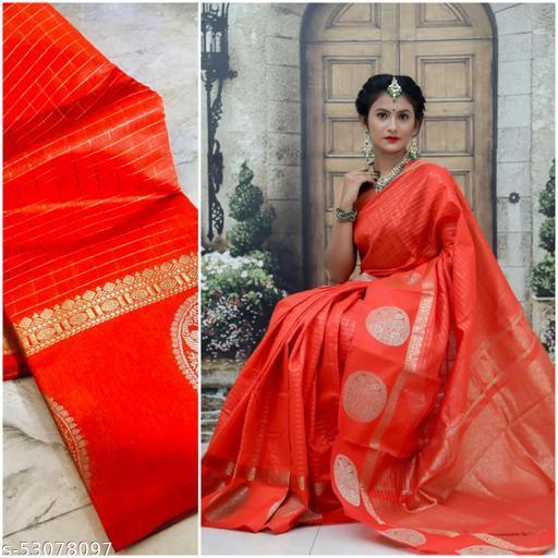 Women's  soft linen cotton silk saree with beautiful chex design