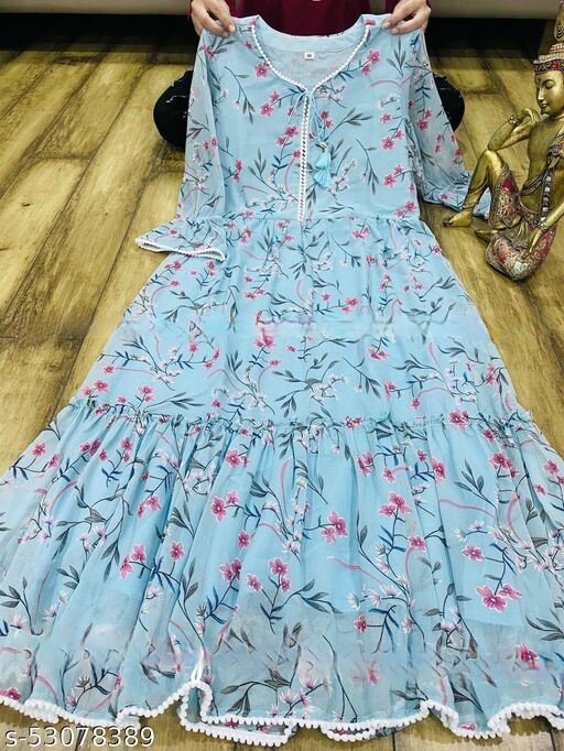 Trendy top and flower print beutic gown