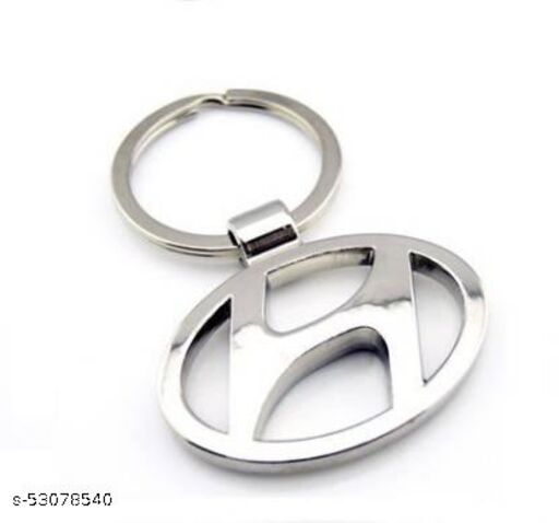 Stainless steel Hyundai logo Keychain/Key ring(Sliver)(pack of1)