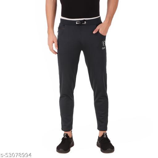 flyker mens regular fit 4waylycra trackpants - darkgrey