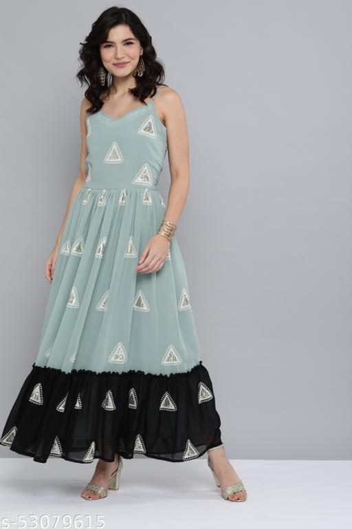 Ocean Green & Black Embroidered & Sequins Work Color Block Flared Kurti