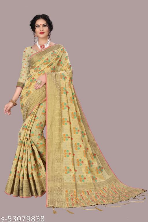 Banarasi Chanderi Cotton Saree With Running Blouse