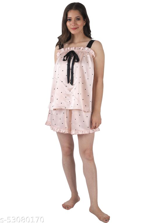 PRETTY LOVING THING Pink Polka Print Pattern Sleeveless Square Neck Women Night Suit Top and Short Set