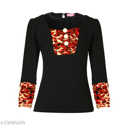 Truffles Girls Black Full Sleeves Round Neck with Tiger Print Sleeve Girls Top