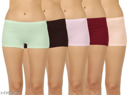 VAISHMA Women Boy Short Multicolor Panty ( PACK OF 5 )