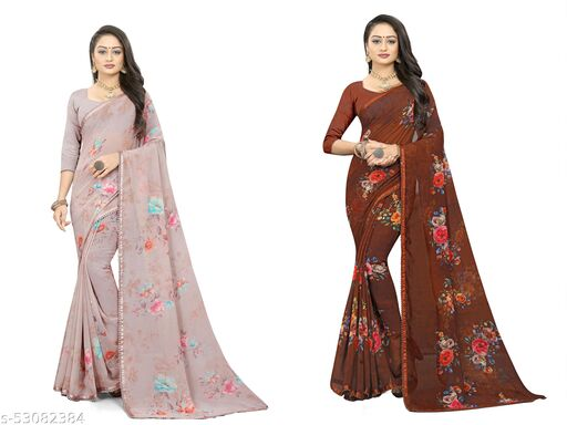 Fevinaa fancy sarees with pum pum lace