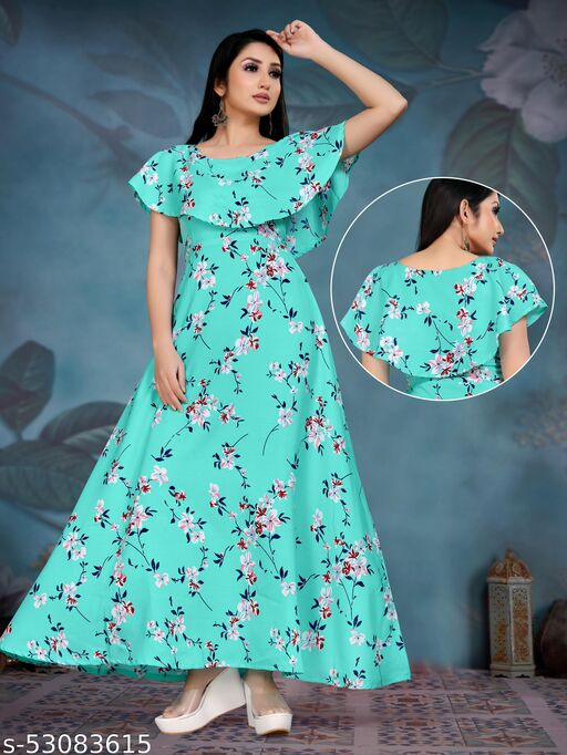 Crepe Blend Stitched Flared/A-line Gown
