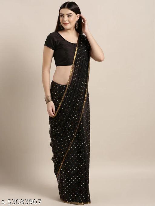 black foil print saree