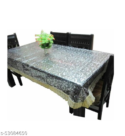 Transparent PVC Plastic Table Cover with Golden Lace 3D Pattern 6 Seater 60X90