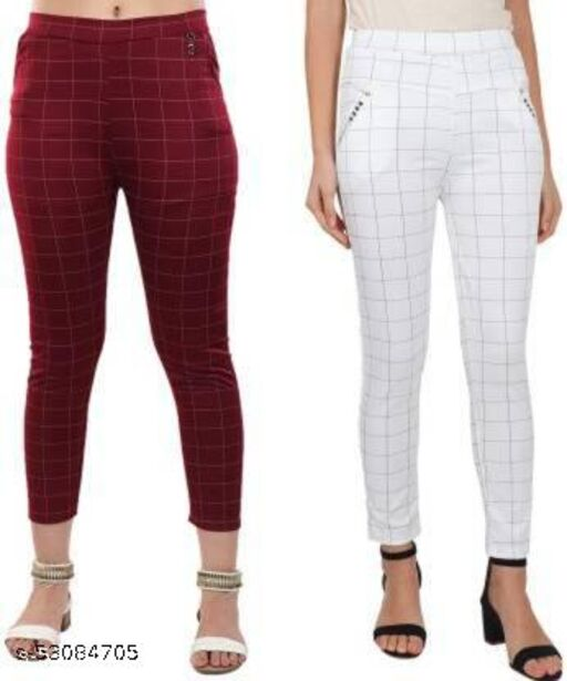 MAROON  AND BLACK CHECK JEGGING