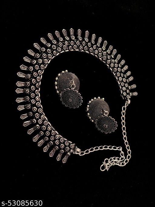 Oxidized Necklace With Earring