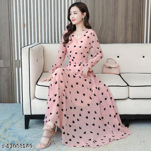 RC Neoen Pink Hard Print Long Dress