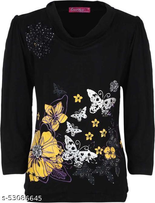 Truffles Girls Black Casual Viscose Blend Full Sleeve Printed Top