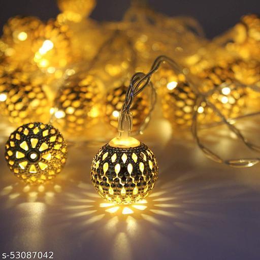 Brightvine Golden Metal Ball Shape String Lights 16 LED 13 Ft. Rise Light for Diwali Decoration Valentine Day Decoration Romantic Mood Light